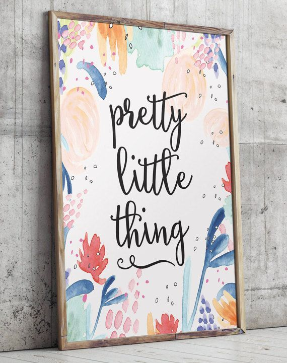 Girl nursery art Pretty little thing print by TwoBrushesDesigns #nurseryprints