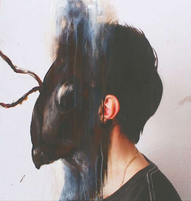 painted animal on photographic portraits by charlotte caron