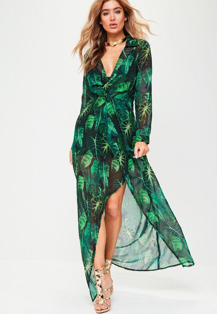 Robe longue verte cache-cœur à imprimé tropical | Missguided