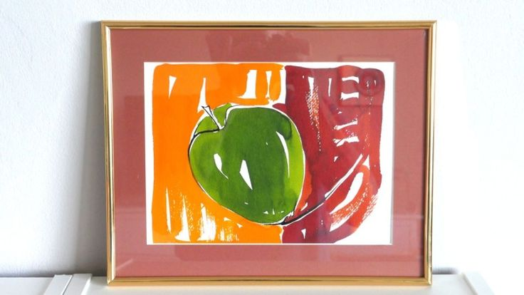 Apple - watercolor framed - In-context view (home interior)