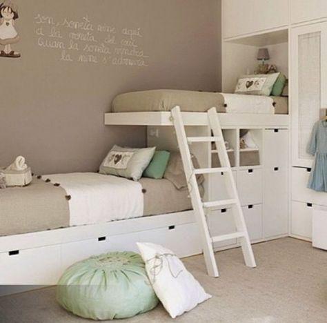 Letti a ponte - Arredare una cameretta piccola con letti su una sola parete