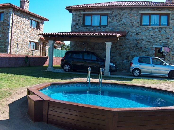 Piscina redonda en madera tratada casa pinterest for Motor piscina