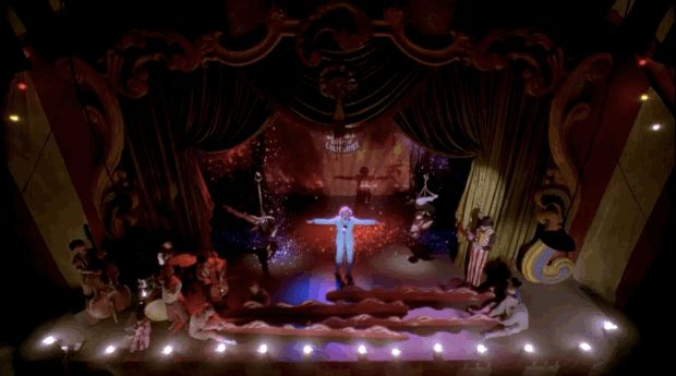 """Jessica Lange, decked out in a powder-blue suit (with matching eyeshadow!), commanding attention on a stunning stage with a song. 