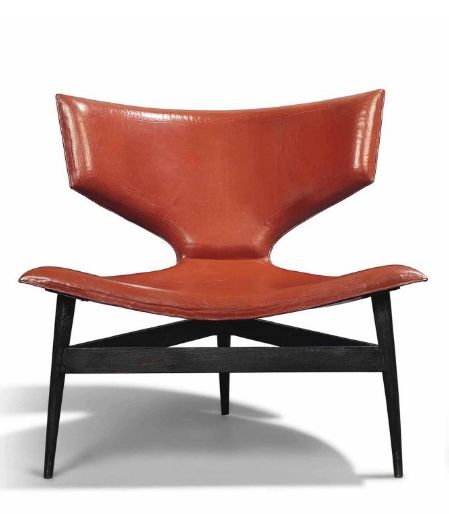 André Arbus; Patinated Bronze and Leather Lounge Chair, 1956.