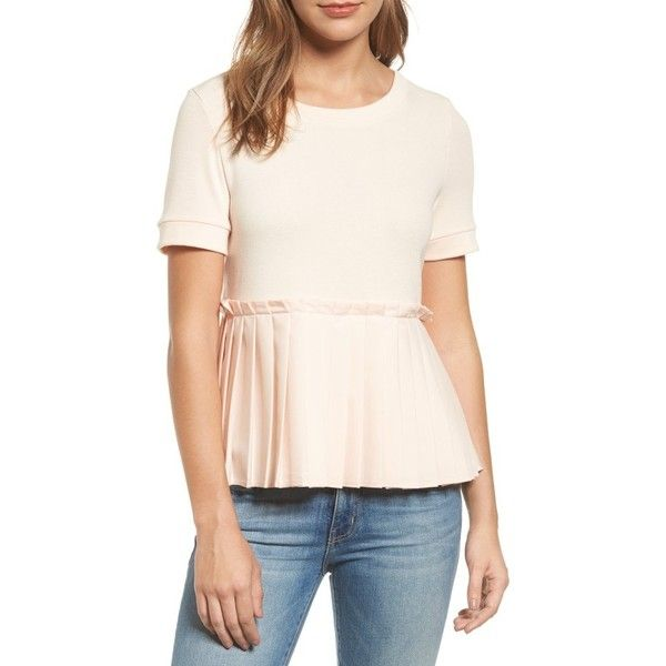 Petite Women's Halogen Pleat Peplum Tee ($41) ❤ liked on Polyvore featuring tops, t-shirts, blush, petite, peplum t shirt, flounce tops, pink ruffle top, flutter-sleeve top and petite short sleeve tops