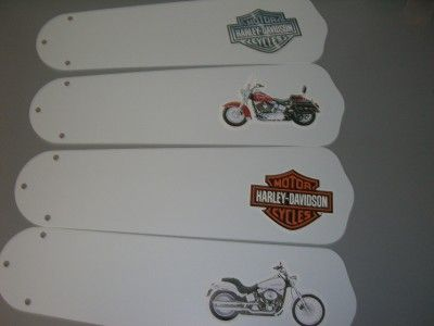 Custom Crafted 42 Ceiling Fan Light With Harley Davidson Motorcycle