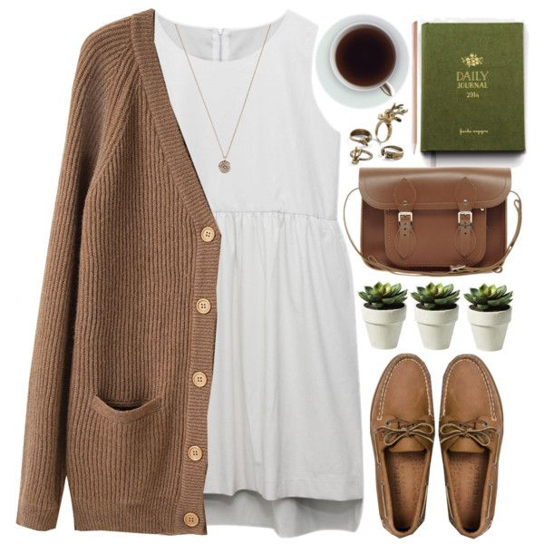 A fashion look from March 2014 featuring Le Mont St. Michel cardigans, Sperry Top-Sider shoes and The Cambridge Satchel Company handbags. Browse and shop relat…