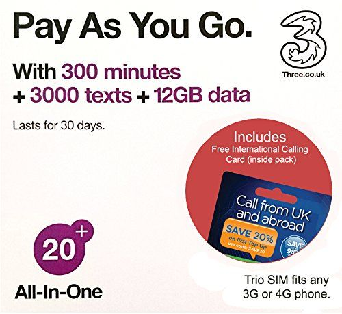 From 20.99 Three Uk All-in-one 20 Payg Trio Sim Card -300 Minutes 3000 Texts  12gb Data  Free International Calling Card - (love2surf Retail Pack)