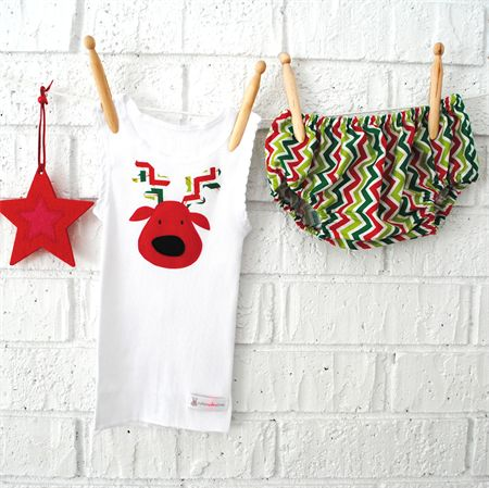 Reindeer Christmas bloomers & singlet - boy, girl, red, green, 1st, shirt