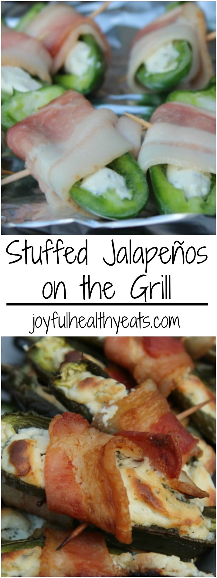 Who is ready for some Football this weekend!? These Stuffed Jalapeños on the Grill will be a definite favorite appetizer for your gatherings! | joyfulhealthyeats.com