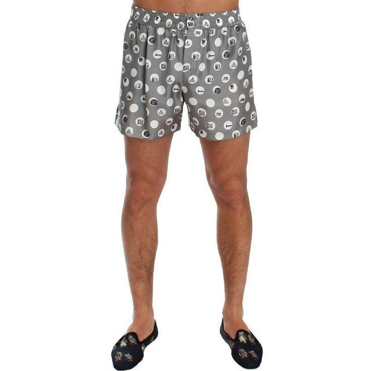 Dolce & Gabbana Silver Polka Dotted SILK Pajama Shorts