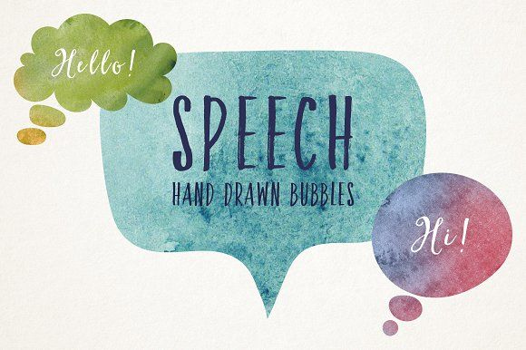 Hand Drawn Speech Bubbles by Dreamstale on @creativemarket