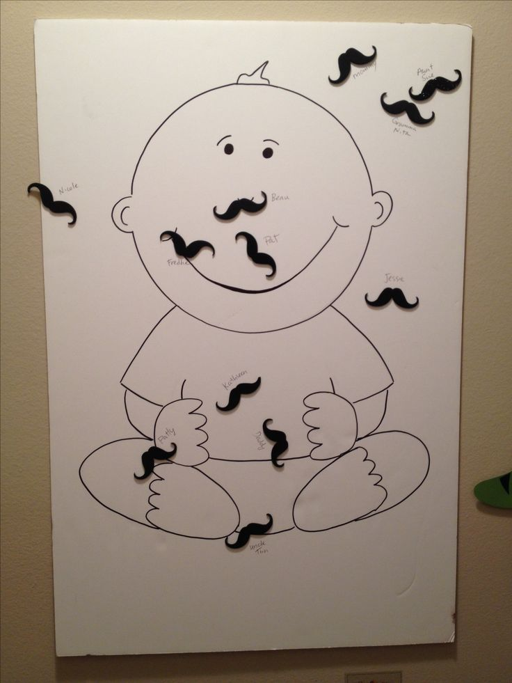 Pin the mustache on the baby. Baby shower game. Baby drawn on poster board and we used self adhesive mustache stickers. 4 year old big brother loved this game!