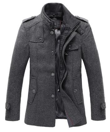 Outerwear Type: Wool & Blends Gender: Men Cuff Style: Conventional Clothing Length: Regular Closure Type: Single Breasted Fabric Type: Broadcloth Hooded: No Collar: Mandarin Collar Sleeve Length: Full