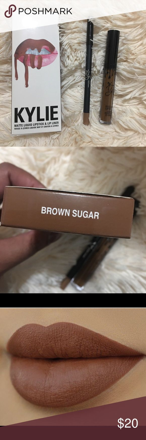 Kylie Lip Set Brown Sugar New in box  Includes liquid lipstick and lip liner  Color Brown Sugar Kylie Cosmetics Makeup Lip Liner #lipstickcolorsbrown