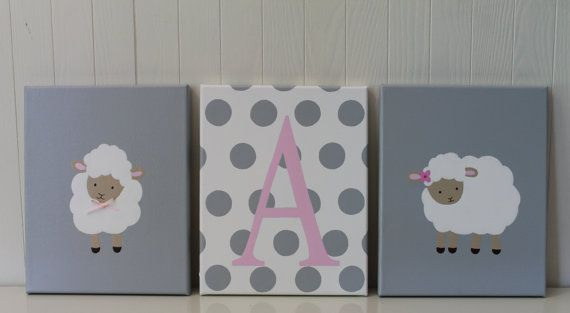 On silhouette in boy colors though.   Baby Girl Sheep Nursery Decor Gray Light Pink by JoanitaBonita, $65.00