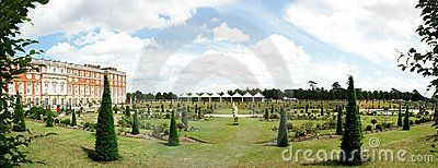Hampton court panorama taken in July 2009 at Henry VIII residence in London Borough of Richmond upon Thames in south west London