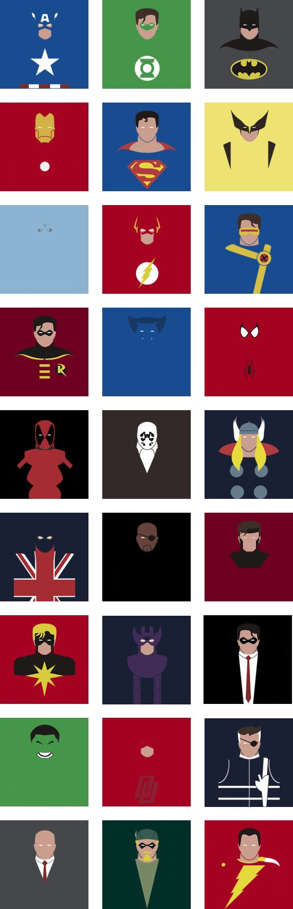 Minimalistic Superheroes by ~Gromter on deviantART