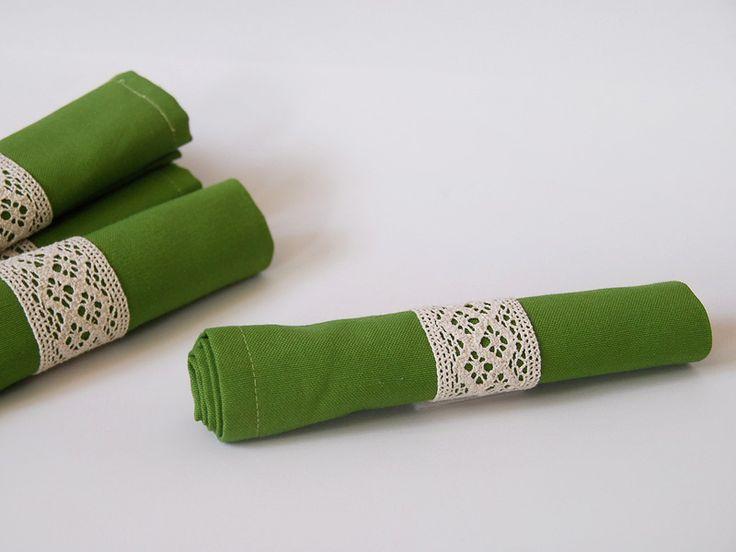 Table textile, runner, napkin, napkin ring, cotton lace - Yaprak desenli runner set, peçete, peçetelik, pamuk dantel peçete halkası