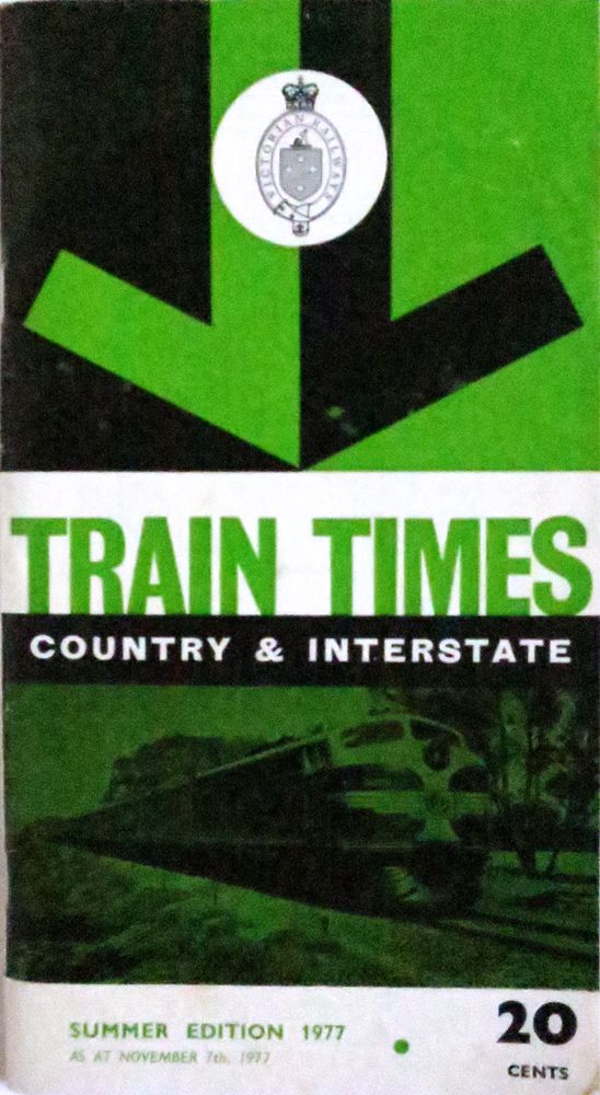 Train Times Country & Interstate Summer Edition 1977, vintage timetable..