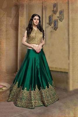 Bhagalpuri Silk Machine Work Semi Stitched Green Lehenga Lehengas