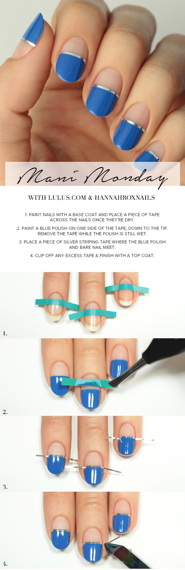 Mani Monday: Blue and Silver Negative Space Nail Tutorial at LuLus.com!