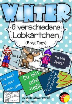 German Brag Tags- Deutsche Lobkärtchen- Winteredition  Mit diesen tollen Logkärtchen kannst du deine Schüler sinnvoll in ihrem positiven Verhalten zu verstärken.