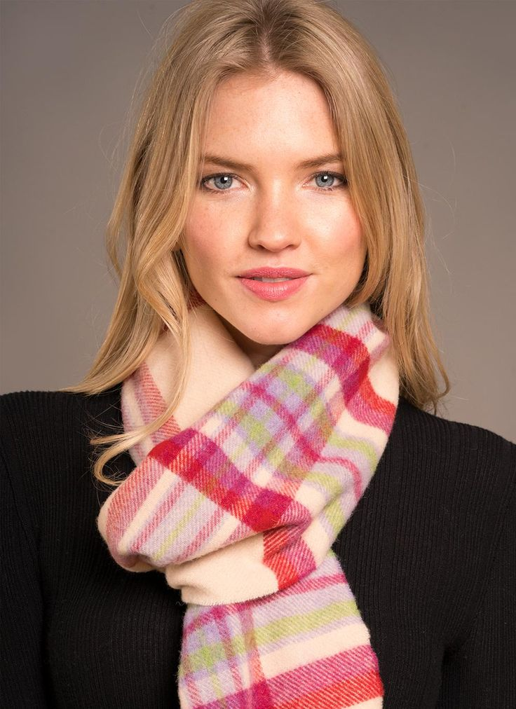 Long Lambswool Scarf - Natural, Cherry & Heather: A classicBlarney Country Heritage scarf. This super-soft-to-the-touch lambswoolscarfcombines gentle, delightful shades of cherry red with moss green, heather and natural cream.The extra length not only provides gorgeous warmth, but also ensuresan added sense of luxury. #scarf#scarves#wool#woolscarf#knit#knitwear#irishdesign#accessories#ireland#irish#gift#giftforher