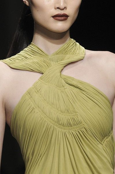 Dior - Tight pleated bodice detail.