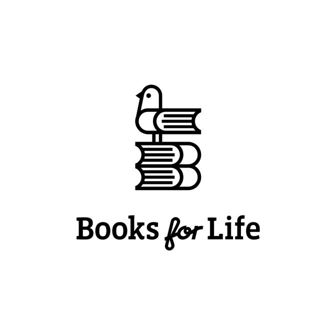 "The ""Books for Life"" #logo features 3 books forming the initials ""B"" and ""L"" including a cute bird icon - designed by Gardner Design, USA"