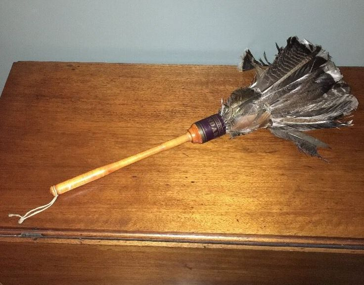 """Large 25"""" Antique Wooden Wood Handle Standard Turkey Feather Duster"""