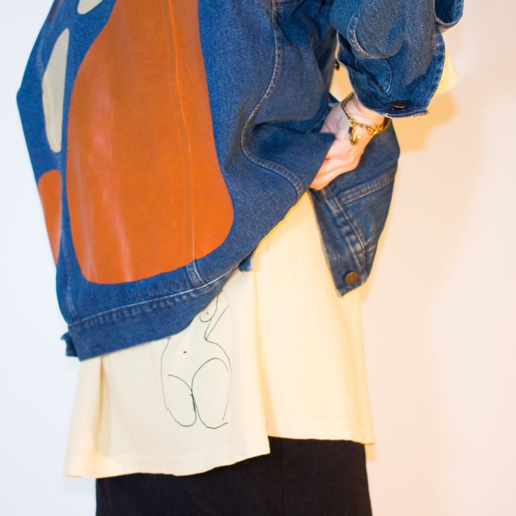 CALDER PRINT ON VINTAGE GAP DENIM JACKET - MILLIE AND LOU TAKES VINTAGE GARMENTS AND TEXTILES AND REWORKS THEM INTO ONE OF A KIND PIECES.
