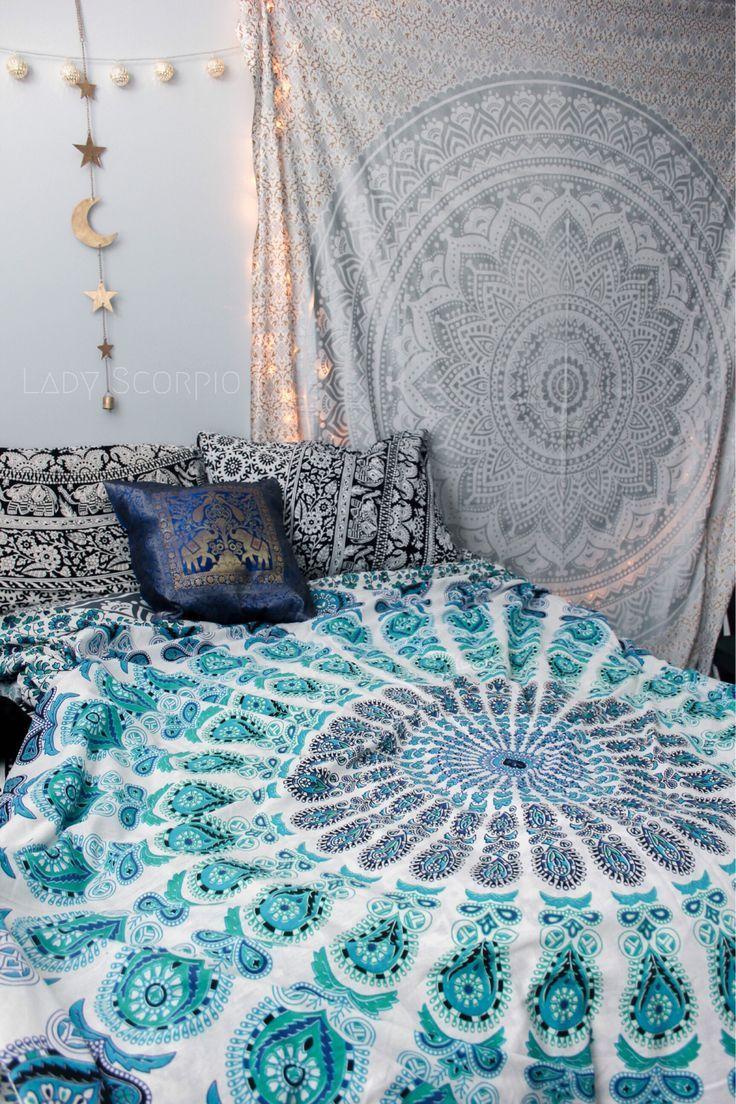 Gypsy Aquamarine & Silver Gypsy Goddess Mandala Tapestry & Duvet by Lady Scorpio. Bohemian Bedroom Decor by Lady Scorpio