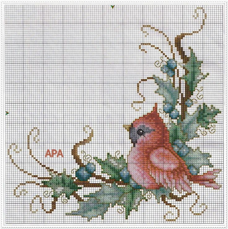 Cross-stitch Baby Cardinal ... no color chart available, just use pattern chart as your color guide.. or choose your own colors...    ENCANTOS EM PONTO CRUZ