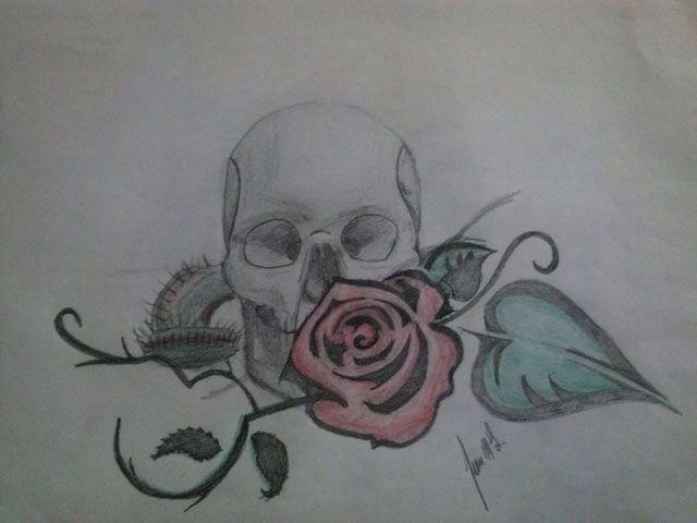 Dibujo calavera y rosa, plantas carnivoras