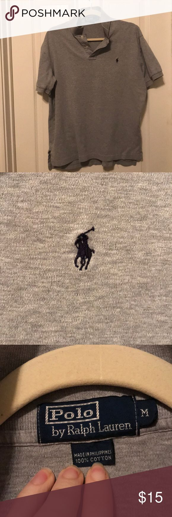 Heathered Gray Ralph Lauren Polo Collared Shirt Solid Heathered Gray, Ralph Lauren Polo collared shirt. Polo emblem monogrammed on the right side. No tears, holes, or missing buttons. Ralph Lauren Shirts Polos