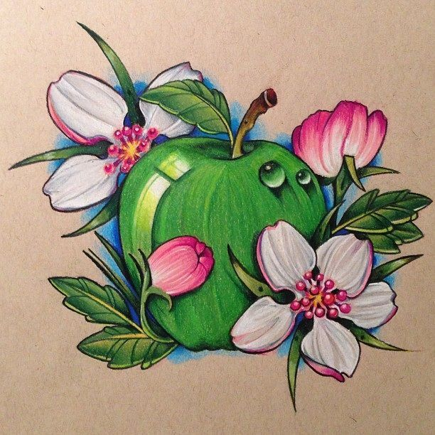 Green Apple With Flowers Tattoo Design