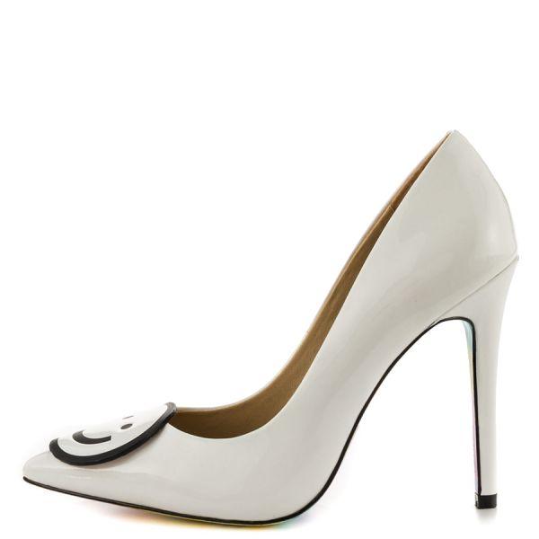 Women's White 4 Inch Heels Smiley Stiletto Heels Pointy Toe Office Heels image 1