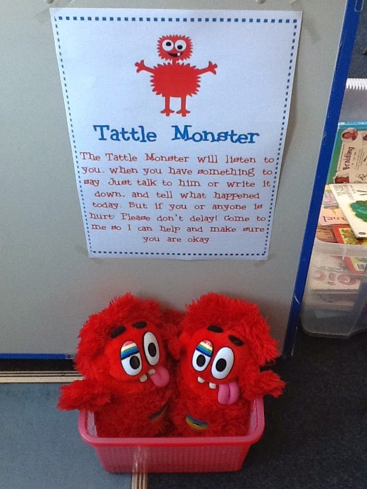 New entrant - Year 1/First grade  Kids can tell their 'tattle' to the tattle monsters, but tell the teacher if someone is in trouble or hurt! My class loves these!