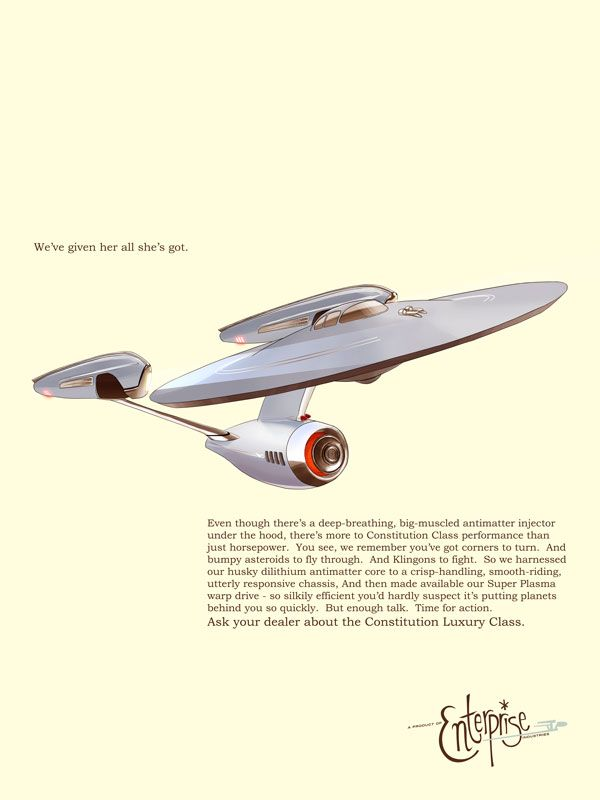 The Enterprise Sales Ad: Geek, Scifi, Sci Fi Starships, Startrek, Starship Enterprise, Things, Retro Enterprise, Design, Star Trek