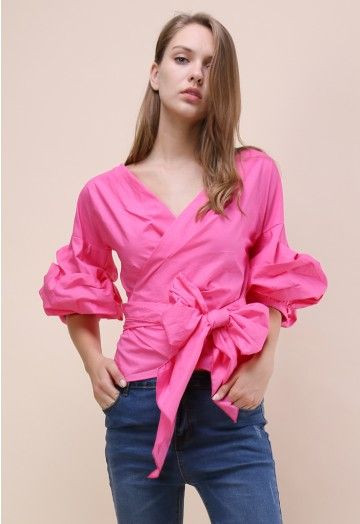 Ruffles, draping and cold shoulders oh my! This enchanting top, even in all its pink-draped glory, holds a casual element that makes it suitable for your casual date nights and fancier occasions.  - Decollete neckline - Ruche sleeves - Self-wrapped through keyhole on waist - Cotton 80%,Polyester 20% - Hand wash cold   Size(cm)  Length Bust Shoulder Sleeves XS         57     84     Free     44 S          57     88     Free    44 M        …