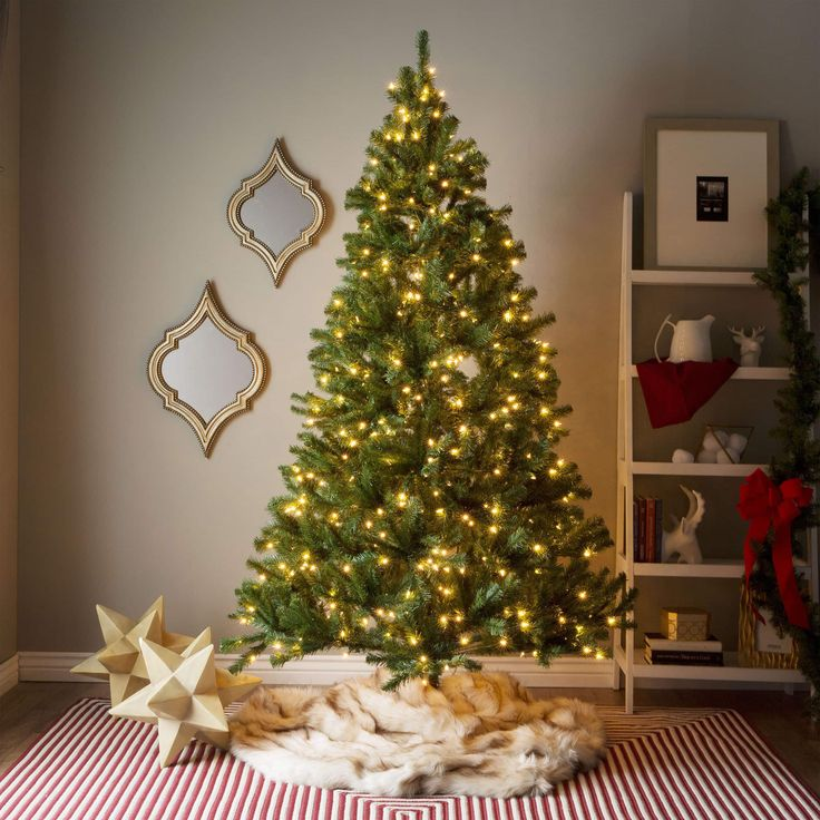 7-foot Pre-lit Artificial Christmas Tree with Hinged Branches with Clear or Multicolored Bulbs