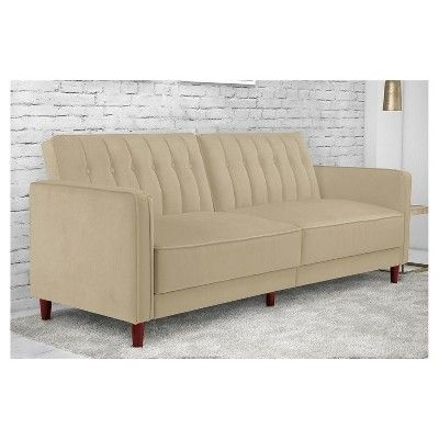 Pin Tufted Transitional Futon - Tan Velvet - Dorel Home Products