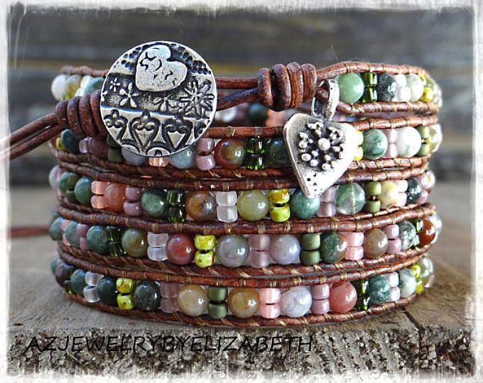 Beaded Wrap Bracelet/ Multi-Color Seed Bead Leather Wrap Bracelet/ Boho Wrap Bracelet/ Gemstone Bracelet/ Bohemian Bracelet.