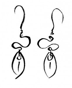 Scales and wire earrings sketch by Mercy's Fancy