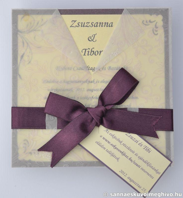 Lila rózsa esküvői meghívó, meghívó, pauszos esküvői meghívó, lila esküvői meghívó, szalagos esküvői meghívó, sannaeskuvoimeghivo, egyedi esküvői meghívó, wedding card