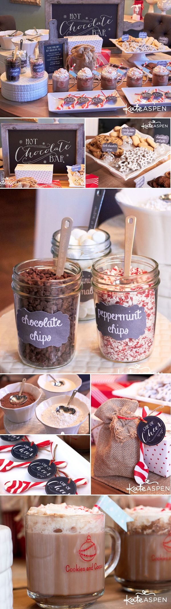 Give your winter wedding guests a little something to warm their hearts and hands by setting up a self-serve hot chocolate bar with all the fixings!  To make it easy, we carry all the Kate Aspen supplies that you need to put this fun and festive hot chocolate bar together including the coffee mugs, heart-shaped measuring spoons, ornament place card holders, red & white straws, glass chalkboard clings, favor bags and more.  http://www.kateaspen.com/blog/2014/12/09/cookies-cocoa-holiday-party/