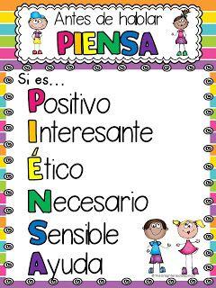 FREE poster! Antes de hablar... PIENSA #spanish