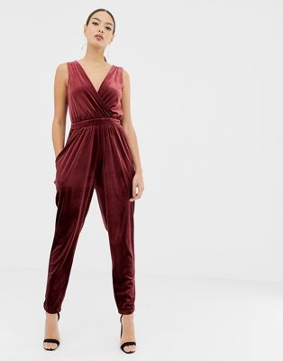 6b3ecbe3e781 ASOS DESIGN sleeveless tux jumpsuit in velvet