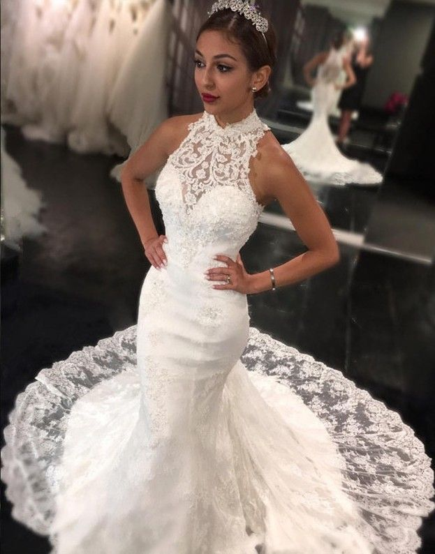 2017 Lace Mermaid Wedding Dresses High Neck Elegant Bridal Gowns